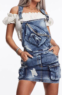 Spliced Dress Personality Eyelet Button Straps Cowboy Package Hip Skirt HHM6141
