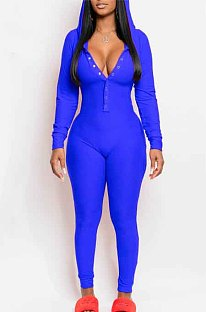 Blue Hooded Button Clamshell Home Suit Jumpsuit CYY8069