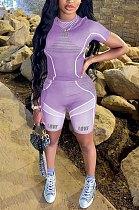 Purple Casual Print Yoge Sport Pants Two-Piece QQM4197