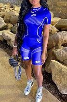 Royal Blue Casual Print Yoge Sport Pants Two-Piece QQM4197