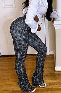 Grid Ruffle Personality Sexy Printing Casual Long Pants LIN8838