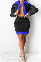 Black Cowboy Sets Trendy Plush Denim Skirt Two-Pieces F8330