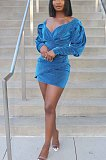 Blue Fasual Casual Sequins V Neck Bubble Sleeve Dress RZ1052