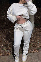 White Euramerican Trendy Casual Pure Color Sport Sets Two-Pieces W8355