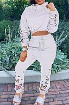 Silver Fashion Cultivate One's Morality Print Zipper Long Slevee Two-Piece LJJ6038
