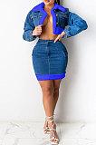 Peacock Blue Cowboy Sets Trendy Plush Denim Skirt Two-Pieces F8330