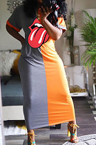 Gray Euramerican Women Tongue Digital Printing Spliced Long Dress ORY5152