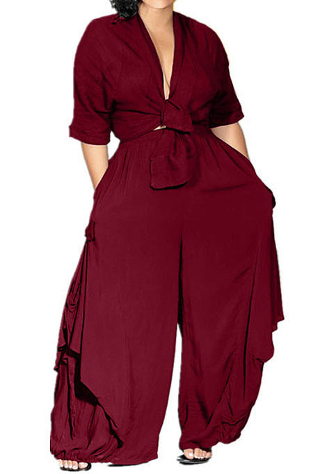 Wine Red Loose Midriff Top Sets Pure Color Sexy Euramerican Women Two-Piece AFY674