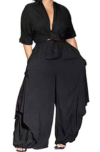 Black Loose Midriff Top Sets Pure Color Sexy Euramerican Women Two-Piece AFY674