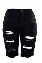 سروال جينز أسود بفتحة فيفث سروال CF8851