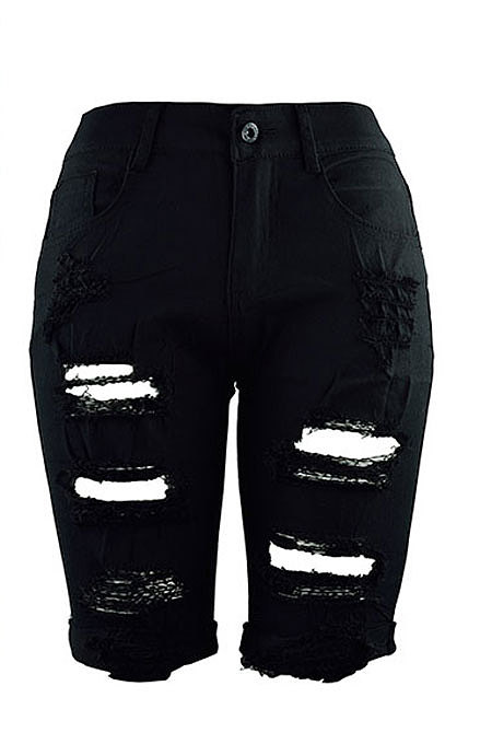 Black Personality Hole Jeans Fifth Pants CF8851