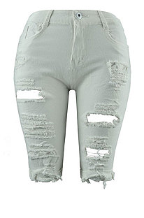 White Personality Hole Jeans Fifth Pants CF8851
