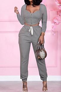 Gray Cardigan Zipper Prue Color Casual Two-Piece SQ932
