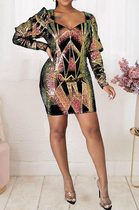 V Neck Mid Waist Long Sleeve Sequins Package Buttocks Stealth Zipper Sexy Mini Dress JLX6050