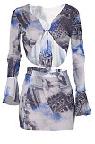 Spring Summer Women Transparent Gauze Printing Sexy Two-Pieces JZH8025