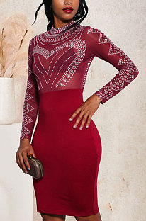 Long Sleeve Hot Drilling Sexy Package Buttocks Dress Party Mini Dress JLX8678