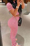 Pink Trendy Sexy Ruffle Elastic Cotton Pure Color Sporty Two-Pieces LYY9237