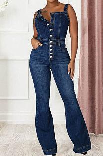 Dark Blue Trendy Casual Sexy Straps Jeans Wide Leg Jumpsuits JLX6048