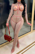 Nude Sexy Chest Hollow Out Stand Collar Fashion Sport Jumpsuits SQ933