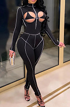 Black Sexy Chest Hollow Out Stand Collar Fashion Sport Jumpsuits SQ933