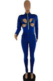 Blue Sexy Chest Hollow Out Stand Collar Fashion Sport Jumpsuits SQ933