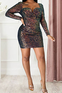 Sexy Sequins Dress Backless Dew Chest Package Buttocks Long Sleeve Mini Dress JLX8569