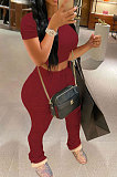 Dark Gray Fashion Sexy Ruffle Elastic Cotton Pure Color Sporty Two-Pieces LYY9237