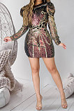 Fashion Sexy Zipper Package Buttocks Positioning Sequins Mini Dress JLX6051