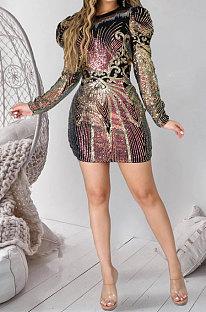 أزياء مثير زيبر حزمة الأرداف تحديد المواقع الترتر فستان قصير JLX6051