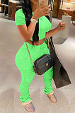 Neon Green Fashion Sexy Ruffle Elastic Cotton Pure Color Sporty Two-Pieces LYY9237