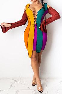 Coffee Womenswear Bind Color Matching Off Shoulder Irregular Hem Mini Dress SDE1145