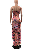 Black Pink Sling Print Half Open Fork Nihgt Clud Long Dress QSS5037
