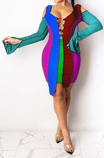 فستان ليك بلو للسيدات بلون متناسق مع كتف غير منتظم بحافة غير منتظمة SDE1145