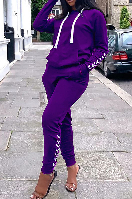 Purple Cultivate One's Morality Casual Sports Two-Piece QSS5016