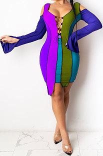 Dark Blue Womenswear Bind Color Matching Off Shoulder Irregular Hem Mini Dress SDE1145