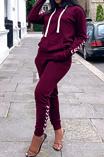 Wine Red Cultivate One's Morality Casual Sports Two-Piece QSS5016