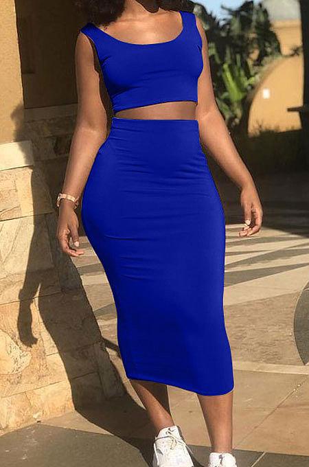 Peacock Blue Club Suit Sexy Vest Pure Color Skirts Sets S6269