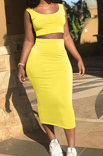 Yellow Club Suit Sexy Vest Pure Color Skirts Sets S6269