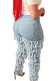 Light Blue Stacking Multi-Layered Tassels Wash Jeans LA3255