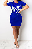 White Euramerican Women Sexy Cultivate One's Morality Letter Printing Mini Dress LD8822