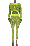 Neon Green Fashion Casual Kint Mesk Sexy Two-Piece MDF5209