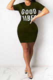 Yellow Euramerican Women Sexy Cultivate One's Morality Letter Printing Mini Dress LD8822
