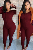 Wine Red Fashion Casual Cultivate One's Morality Two-Piece QSS5002