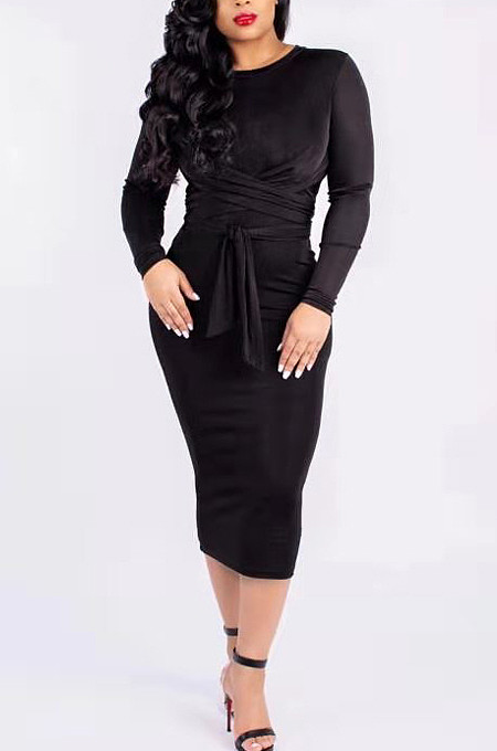 Black Silver Fox Wool Bind Casual Dresses QSS5003