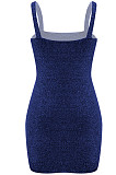 Blue Hot Night Clud Stamping Sling Mini Dress QQM4212