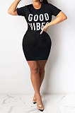 Army Green Euramerican Women Sexy Cultivate One's Morality Letter Printing Mini Dress LD8822