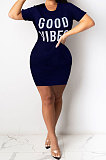 Dark Blue Euramerican Women Sexy Cultivate One's Morality Letter Printing Mini Dress LD8822