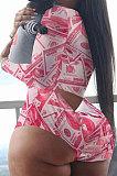 Black Gold Euremerican Women Sleepwear Home Wear Multi Printing Romper Shorts Q765