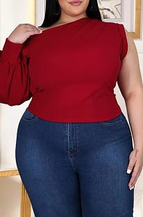 Red Fashion Incliner Shoulder One Shoulder Slevee Asymmetric Top GL7012