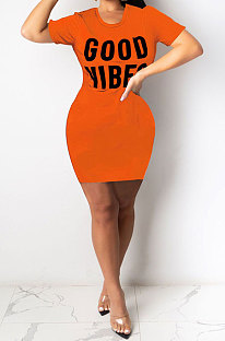 Orange Euramerican Women Sexy Cultivate One's Morality Letter Printing Mini Dress LD8822